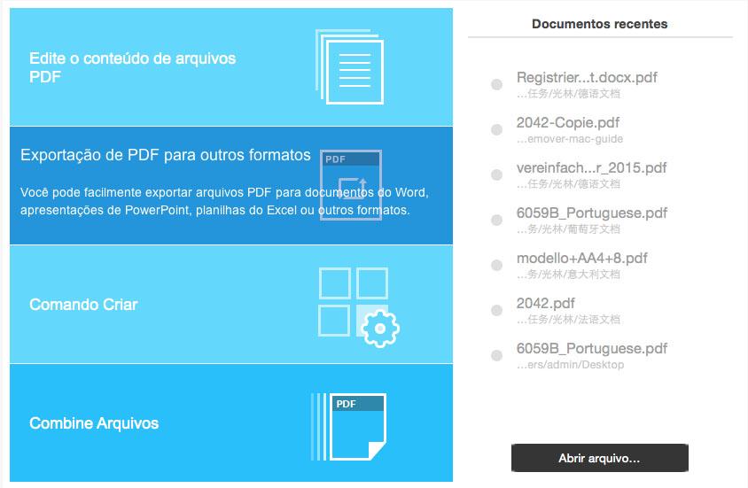 Abra o PDFelement para Mac