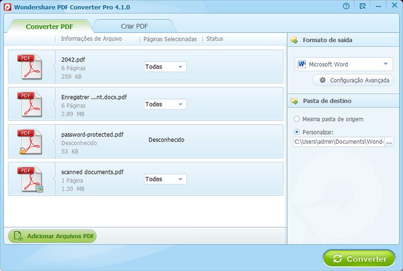 Configurações conversão pdf