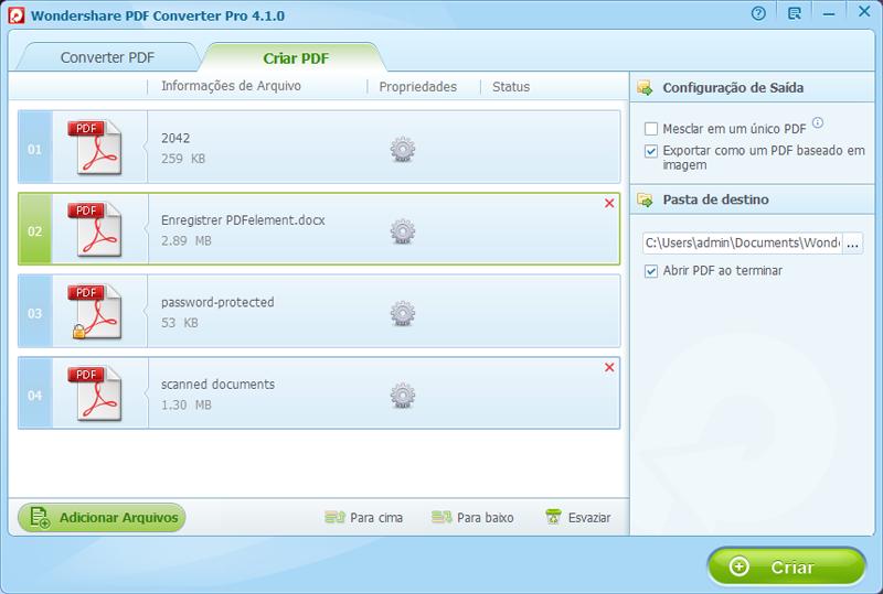 Exportar ficheiros para pdf imagem