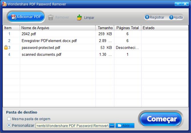 Abra o PDF protegido por senha