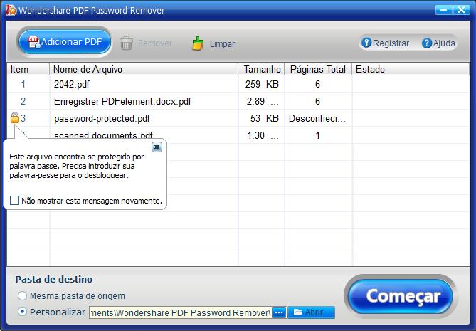 Converter pdf protegido por palavra-passe