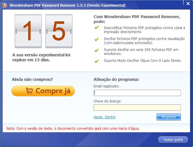 Registar pdf password remover