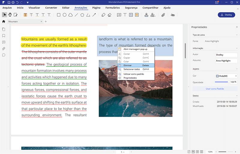 remover destaque do pdf