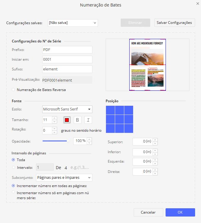 pdf numeração de bates