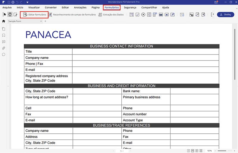 edite o formulário em pdf