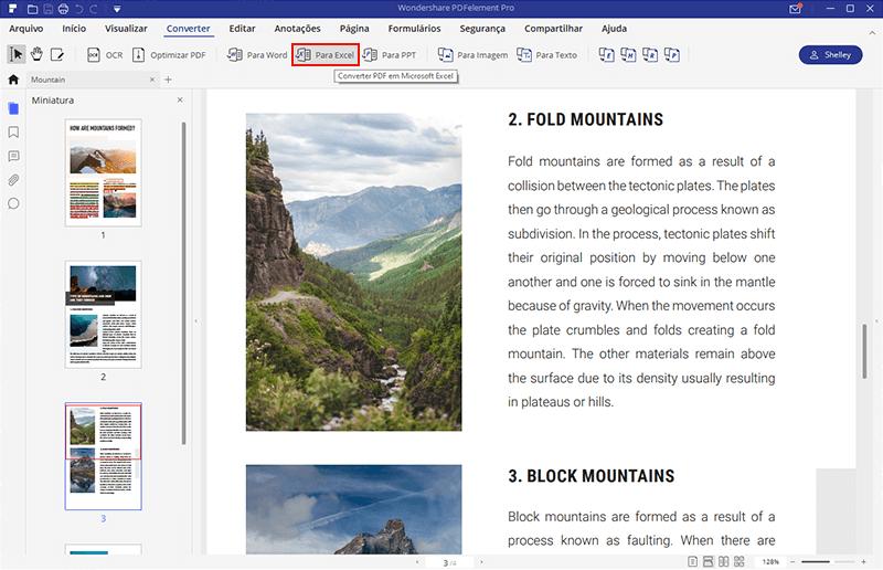 abrir PDF em Excel