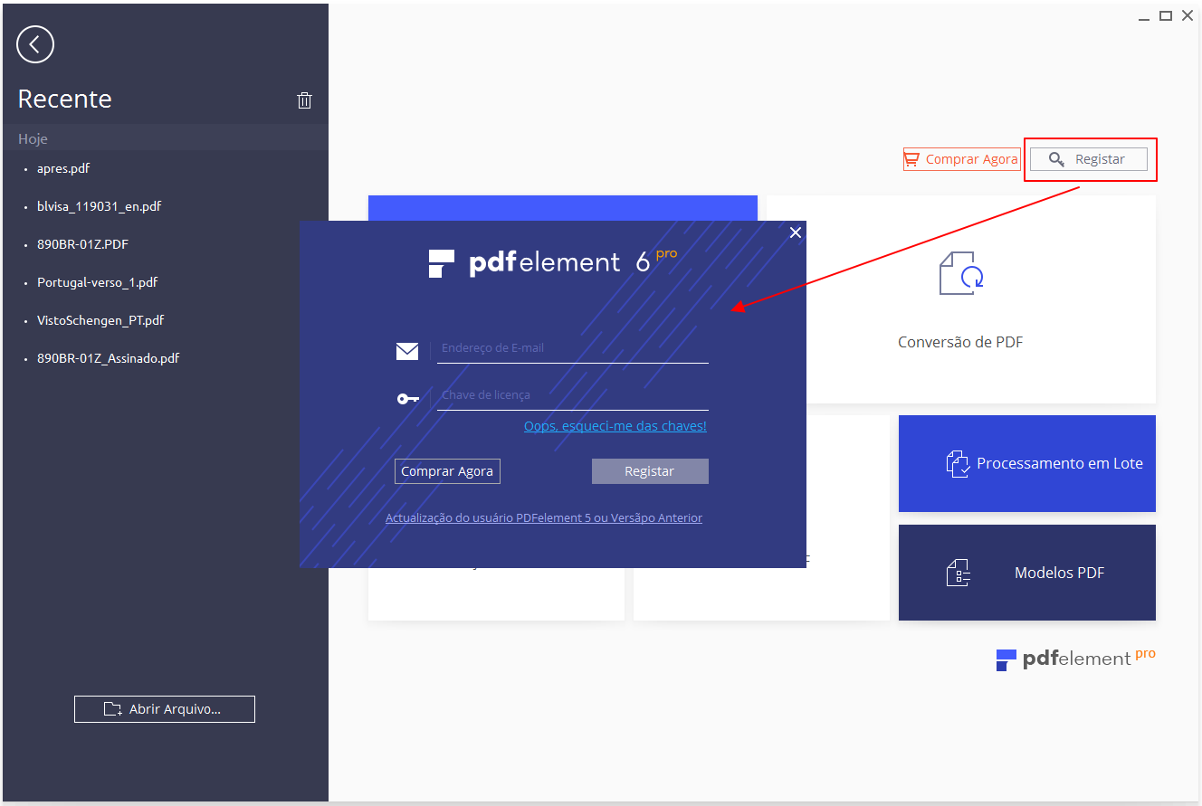 registrar pdfelement para windows