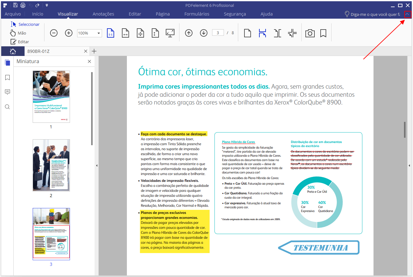 barra de ferramentas de mostra do pdfelement