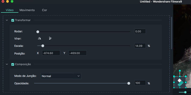 Filmora 9 para Mac adicionar logotipo ao Vídeo