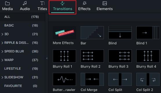 add transition in filmora 9 for mac