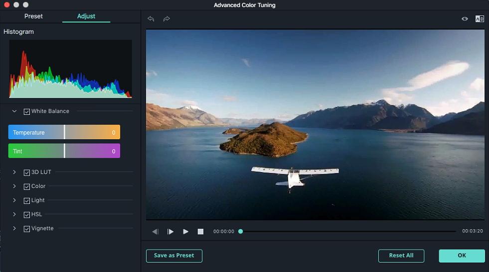 Filmora 9 para Mac correcção de cores avançada