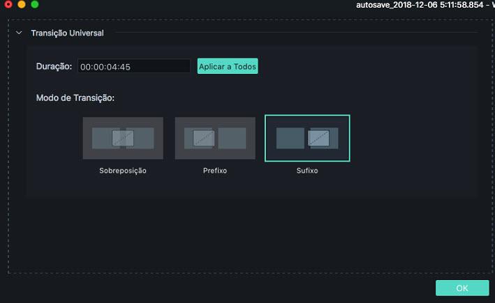 Filmora 9 para Mac edição de trancições