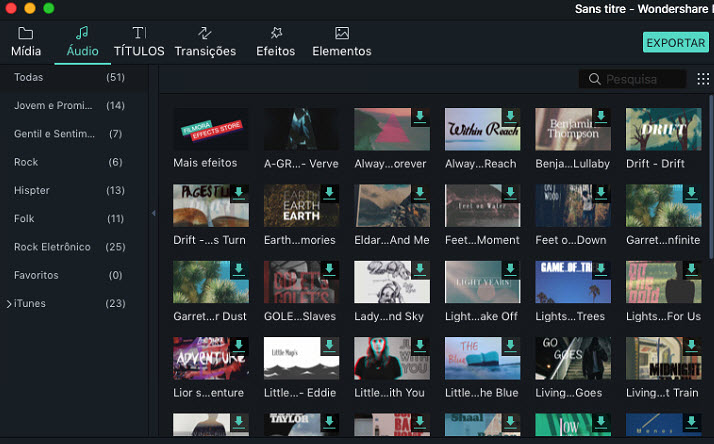 Filmora 9 for Mac Music Library