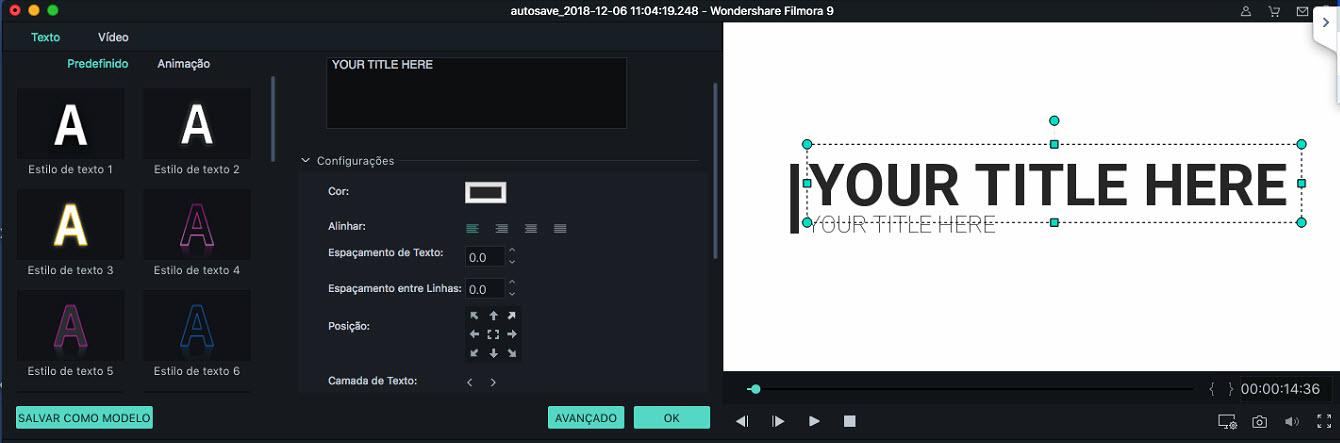 Filmora 9 para Mac adicionar efeitos de títulos