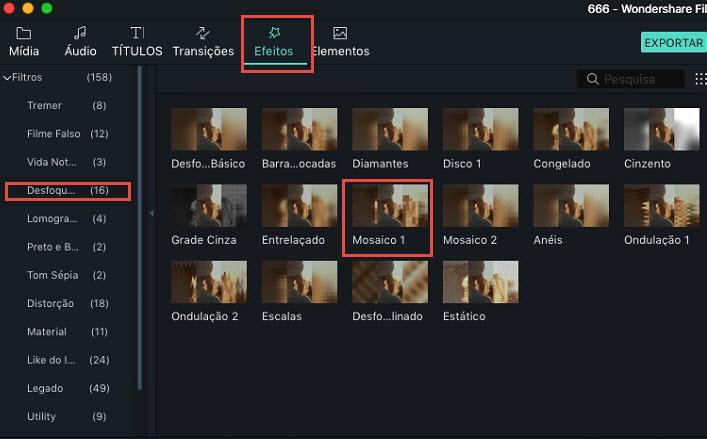 Mosaico mac filmora versão 9
