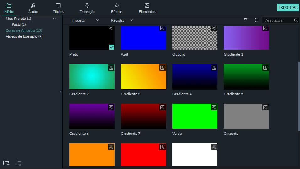acessar cores pré-definidas