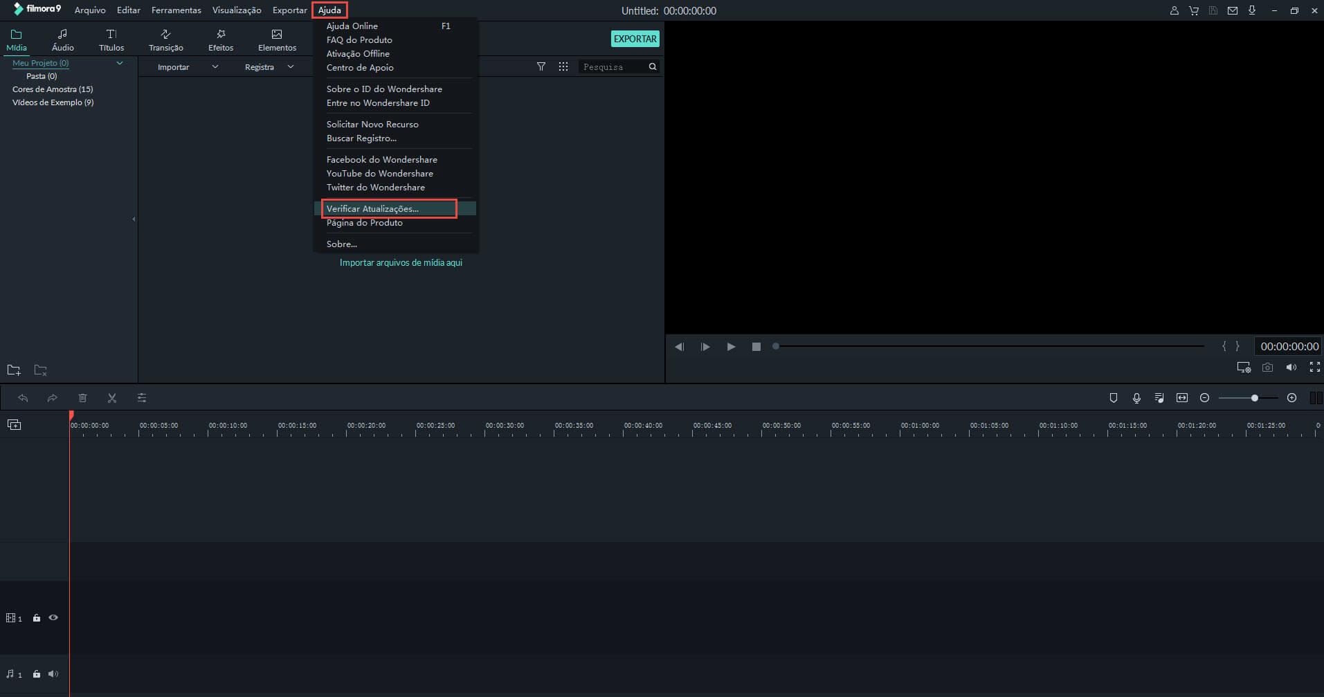 procurar atualização no Filmora 9 para windows