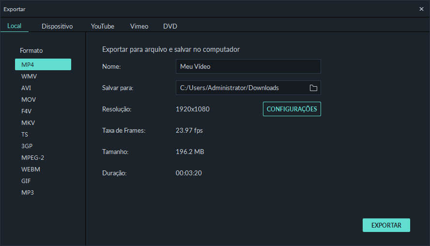 Filmora Export