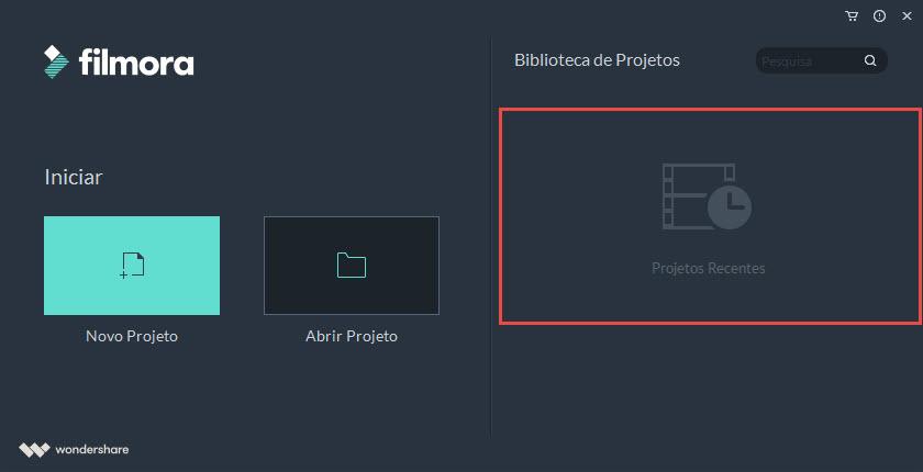 Abrir um projecto recente no Filmora9