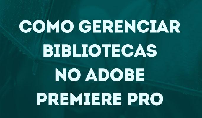 Como Gerenciar Bibliotecas no Adobe Premiere Pro