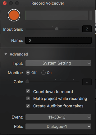 Create Audition from Takes -1