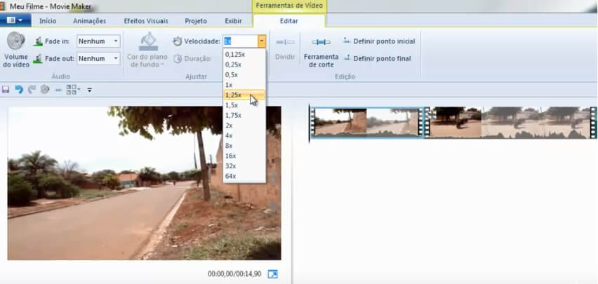 câmera lenta no Windows Live Movie Maker