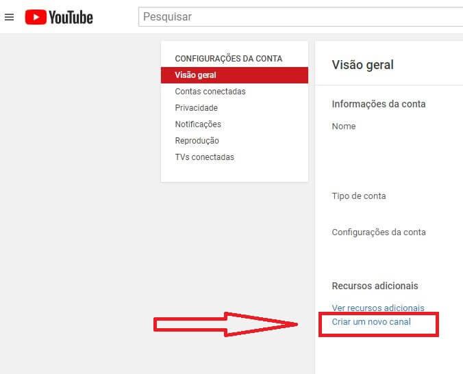 criar um canal do YouTube