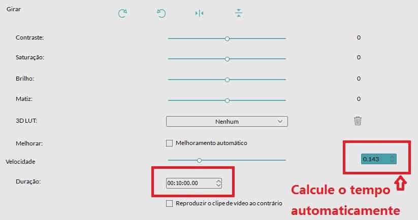 ajustar a velocidade de vídeo