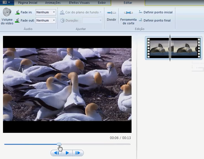 cortar no windows live movie maker