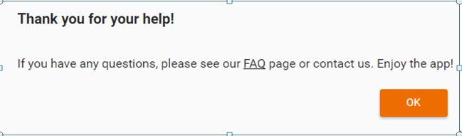 Finished the survey, and click ok