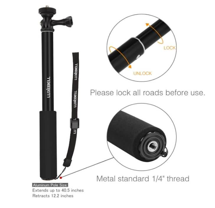 luxebell selfie stick adjustable telescoping monopod pole