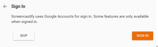 Sign in account or skip