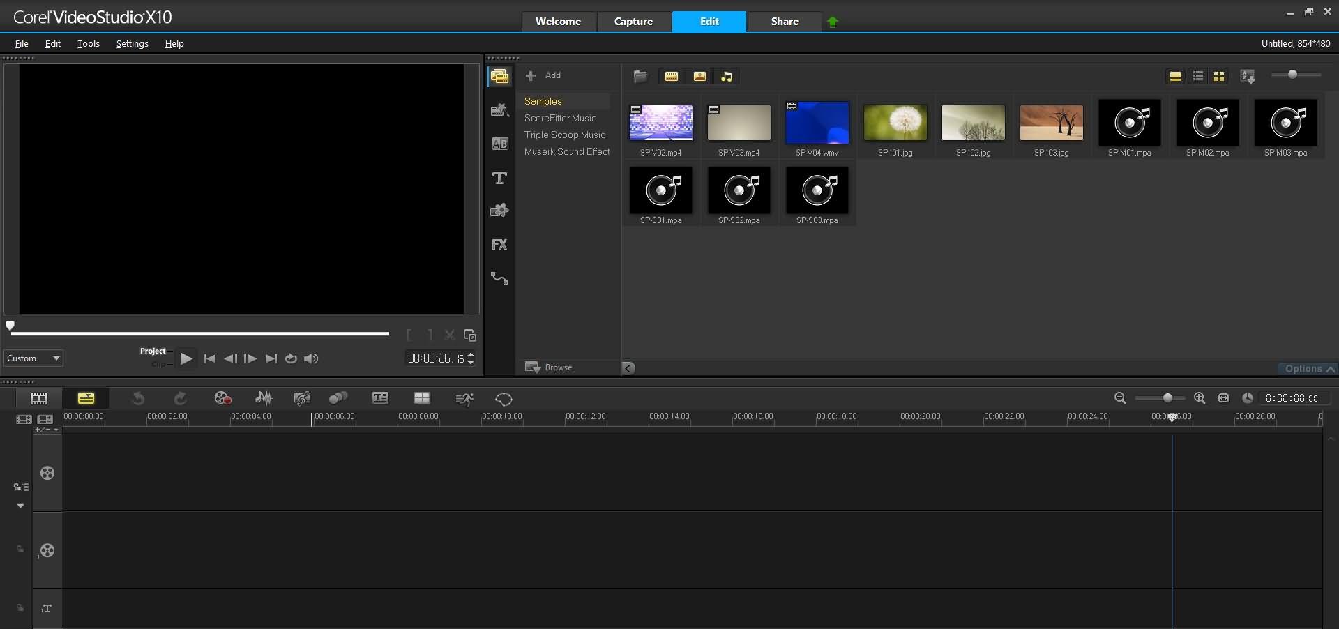 Corel Videostudio interface