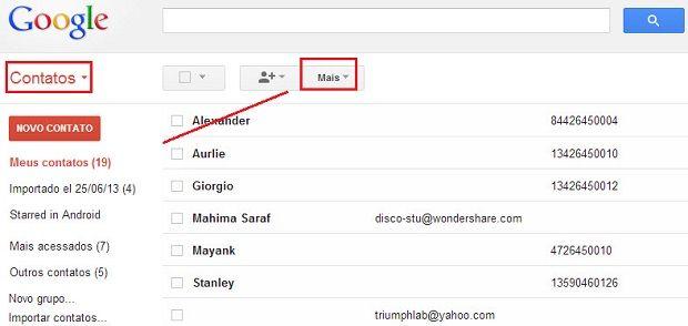 fazer cópia de segurança dos contatos do iphone para o gmail