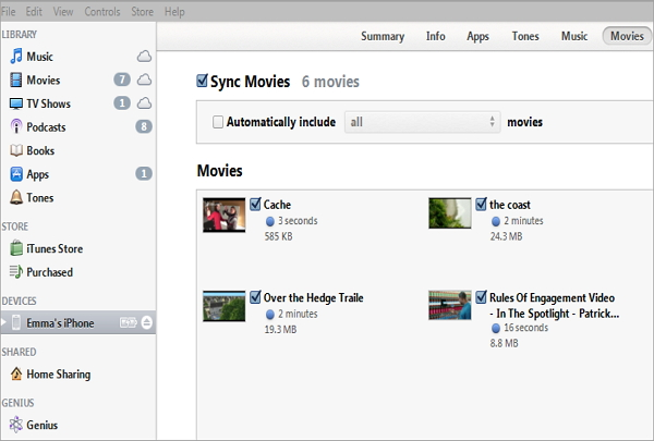 sync itunes movie to iphone