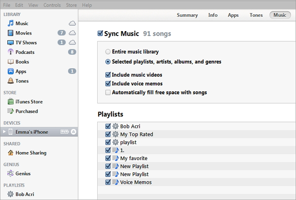 sync itunes music to iphone