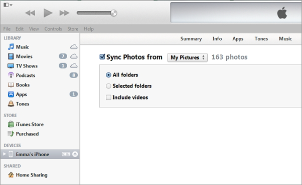 sync photos to iphone with itunes