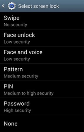 select screen lock
