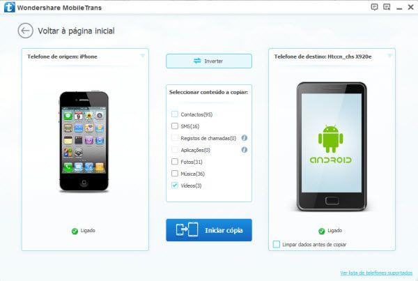 transferir vídeos a partir do iphone para o android