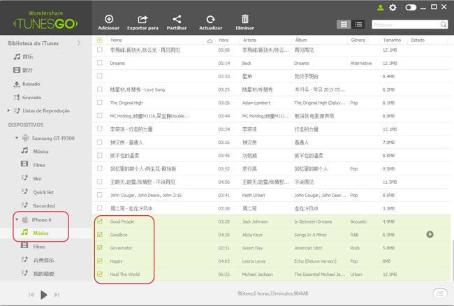 Transferir Música do Android para iPhone/iPad/iPod