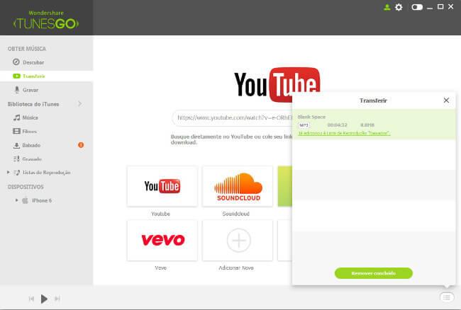 Baixar Música do YouTube/Sítios Web para iTunes