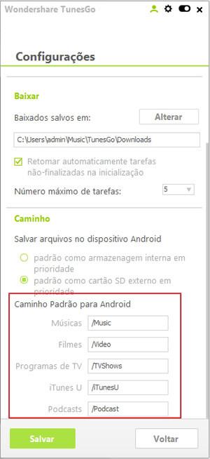 Configurar o Destino de Sincronização Padrão para Arquivos Transferidos para Android