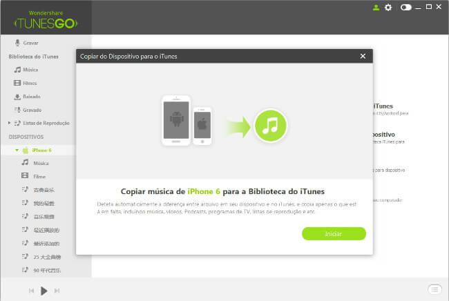 Transferir Listas de Reprodução do Dispositivo para iTunes