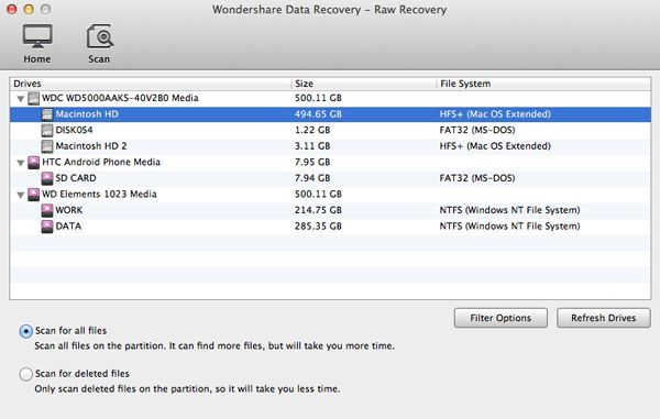 Recuperação do Disco Rígido para Mac OS X