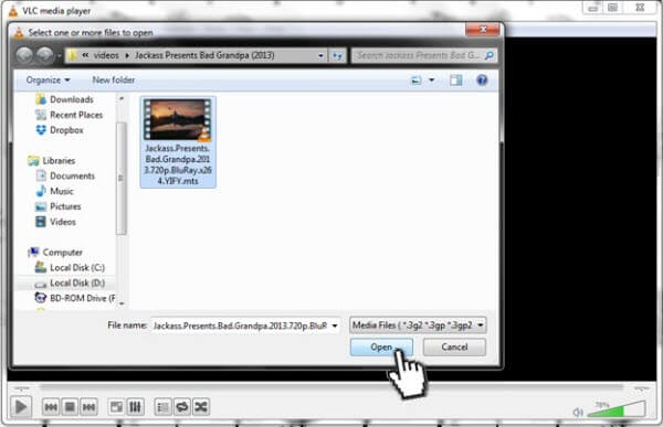 vlc how to convert video to play with no audio