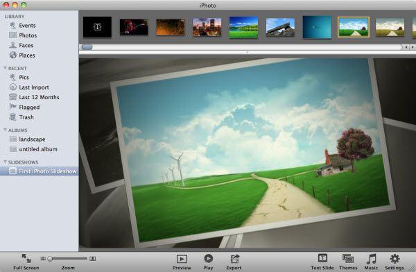 fazer apresentação de slide no iphoto slideshow
