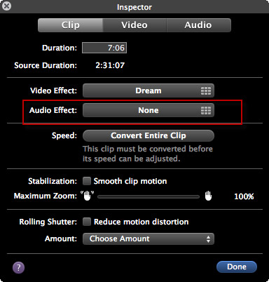 imovie 11 audio effect