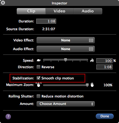 how to stabilize iMovie videos