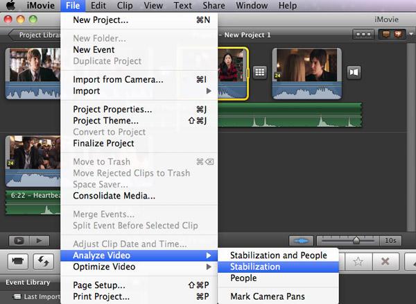 stabilize videos in iMovie